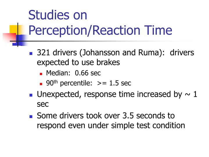 Studies on Perception/Reaction Time