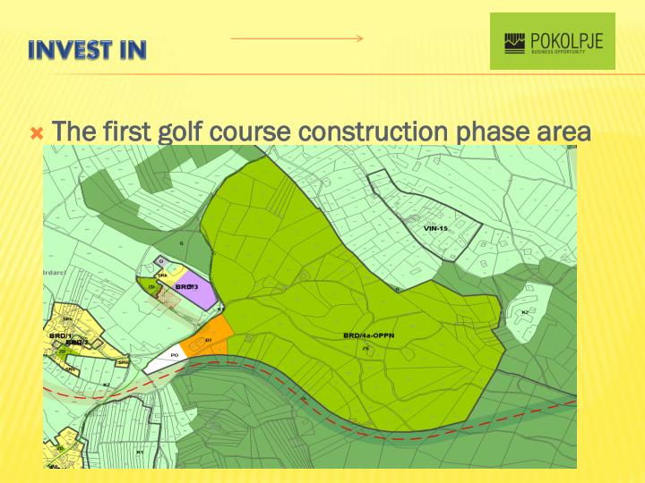 The first golf course construction phase area
