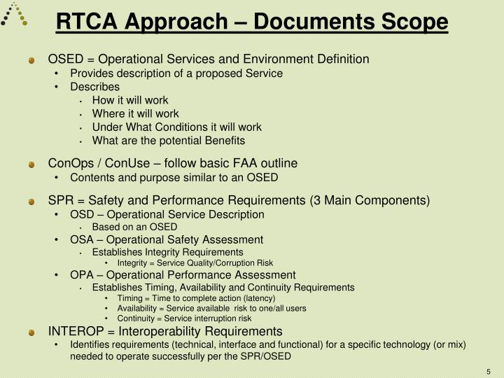 RTCA Approach – Documents Scope