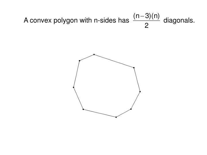 A convex polygon with n-sides has                  diagonals.