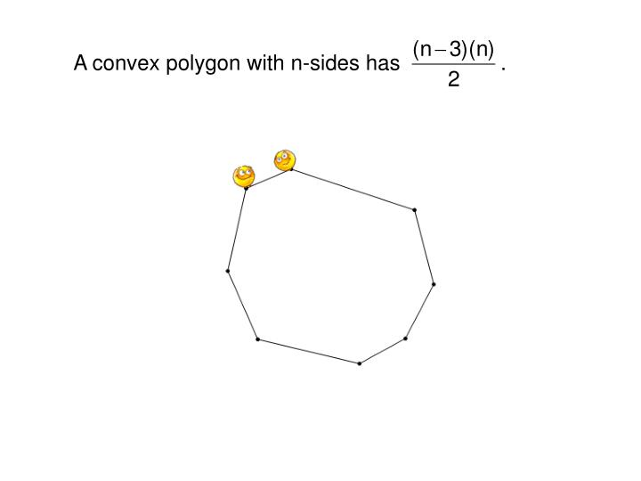 A convex polygon with n-sides has                 .