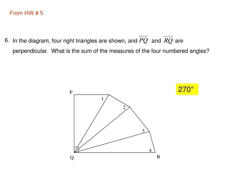 In the diagram, four right triangles are shown, and         and         are