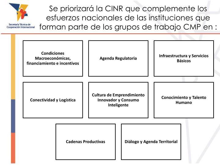 Se priorizará la CINR que complemente los esfuerzos
