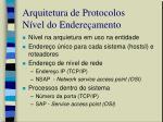 arquitetura de protocolos n vel do endere amento
