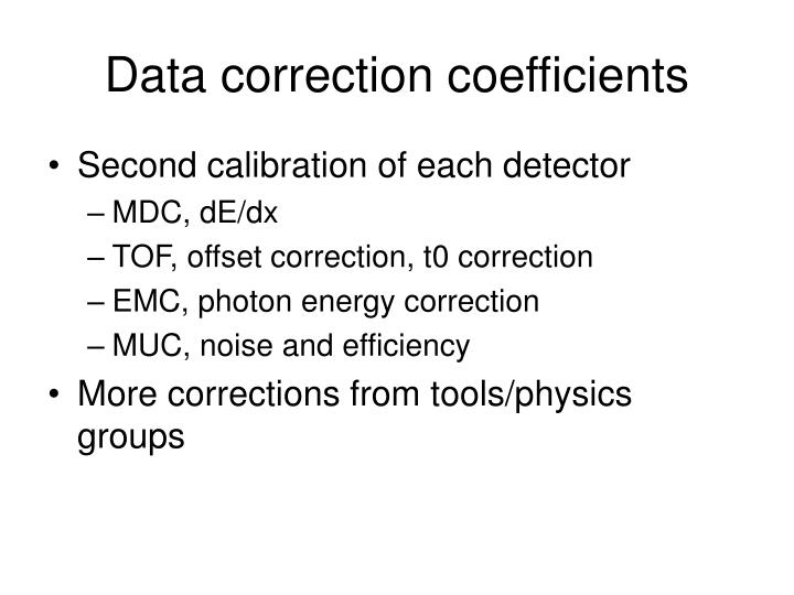 Data correction coefficients