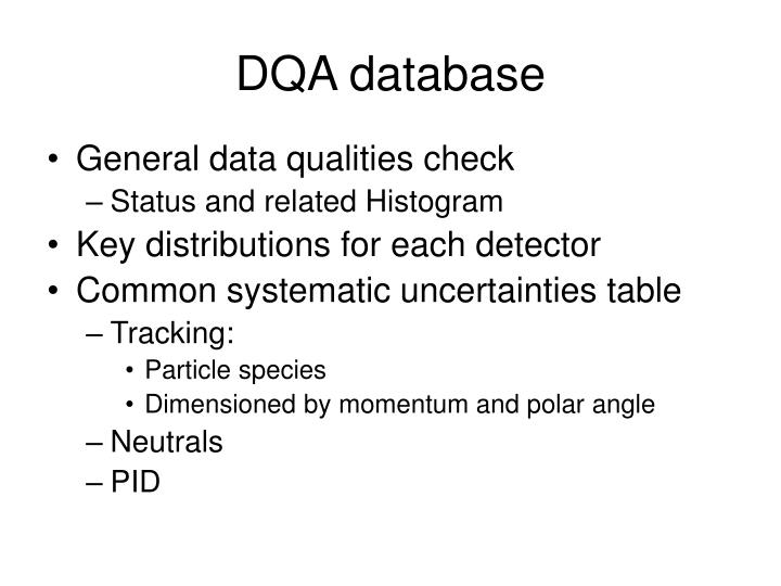 DQA database
