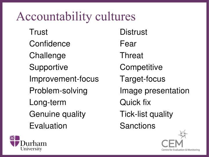Accountability cultures