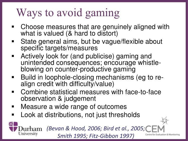 Ways to avoid gaming