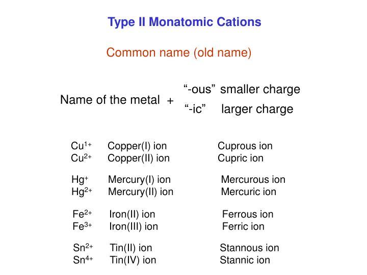 Type II Monatomic Cations