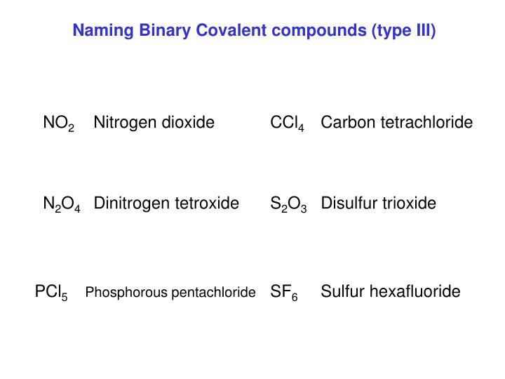 Naming Binary Covalent compounds (type III)