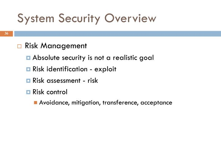 System Security Overview