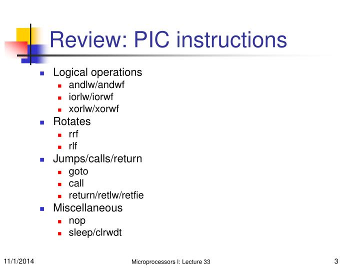 Review: PIC instructions