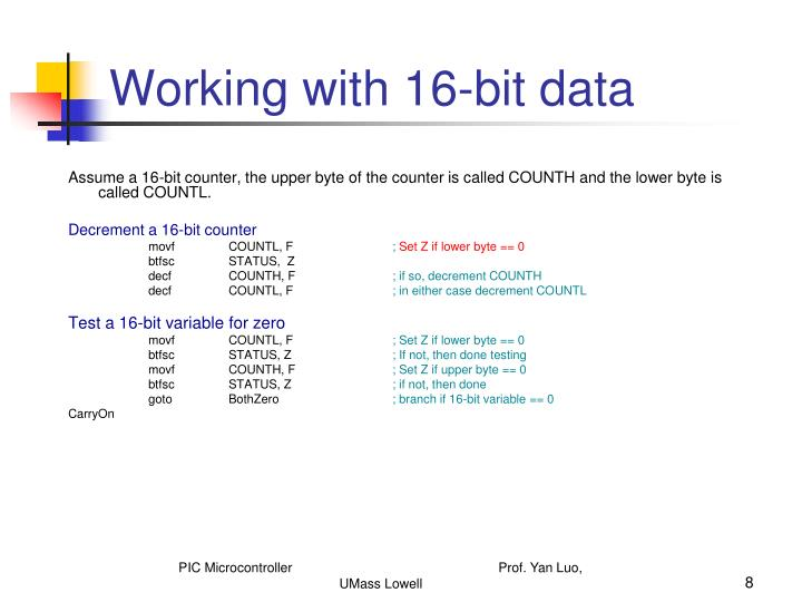 Working with 16-bit data