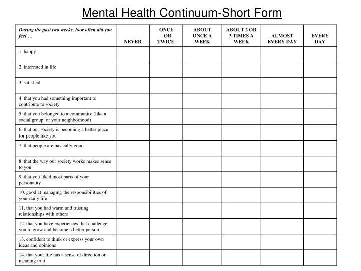 Mental Health Continuum-Short Form