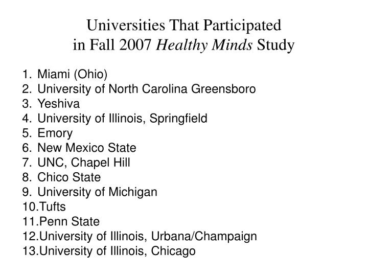 Universities That Participated
