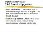 implementation status ds 3 circuits upgrades1