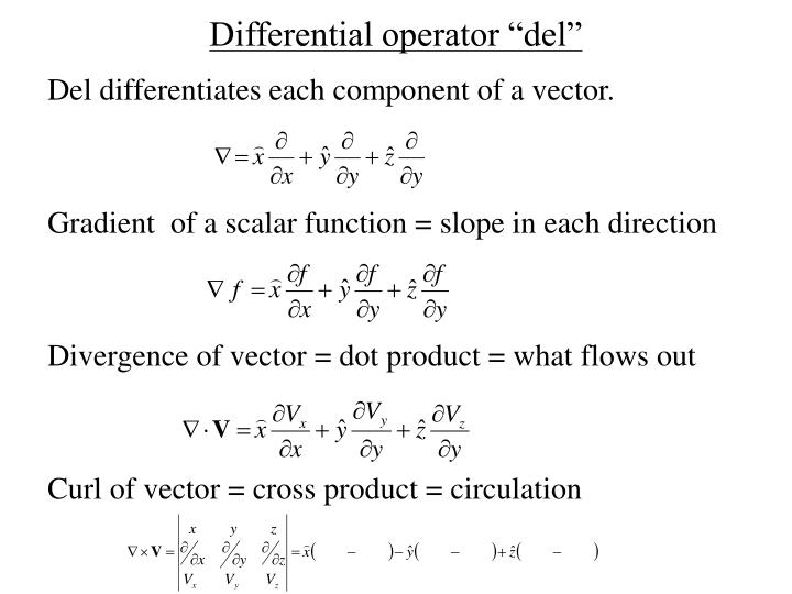 Del differentiates each component of a vector.