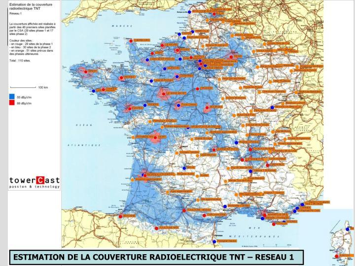 ESTIMATION DE LA COUVERTURE RADIOELECTRIQUE TNT – RESEAU 1