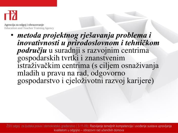 metoda projektnog rješavanja problema i inovativnosti u prirodoslovnom i tehničkom području