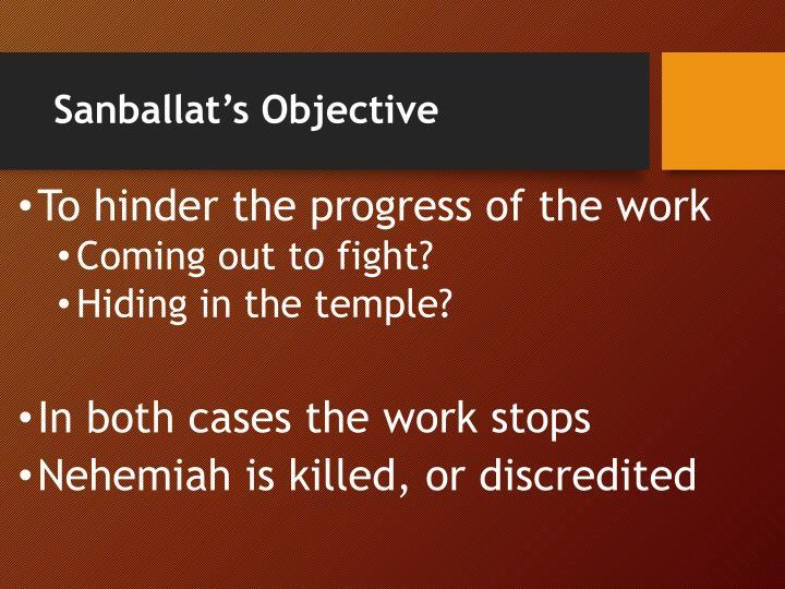 Sanballat's Objective