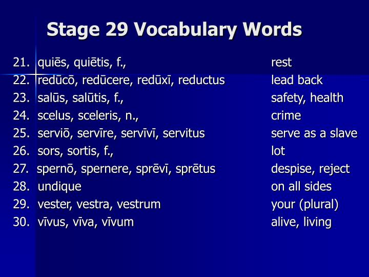 Stage 29 vocabulary words2