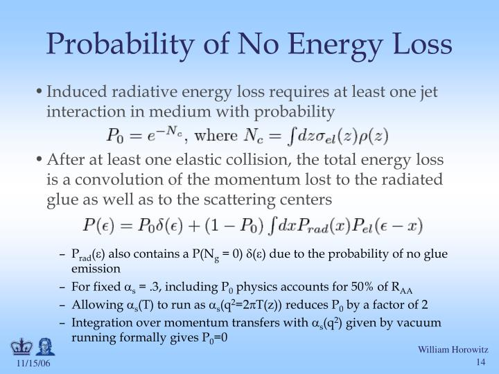 Probability of No Energy Loss