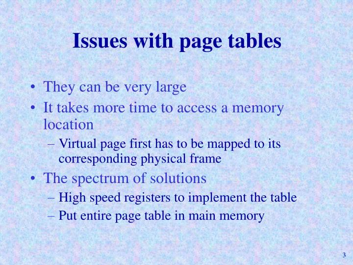 Issues with page tables