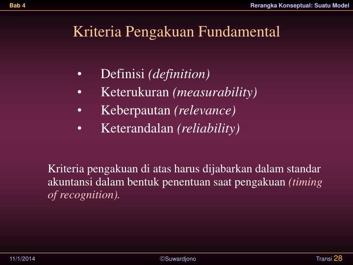 Kriteria Pengakuan Fundamental