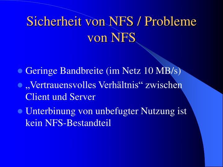 Sicherheit von NFS / Probleme von NFS