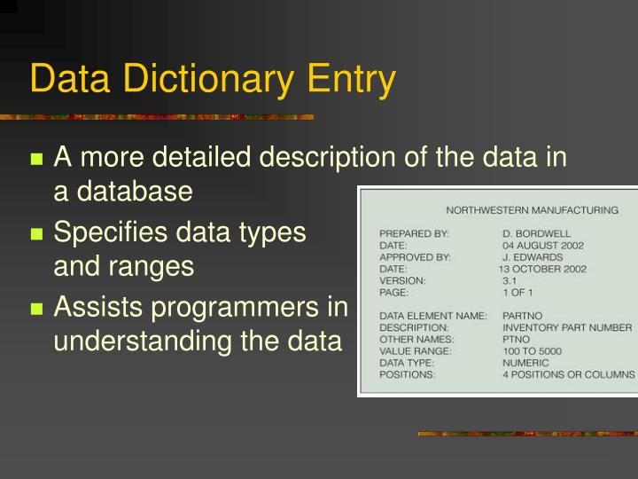 Data Dictionary Entry