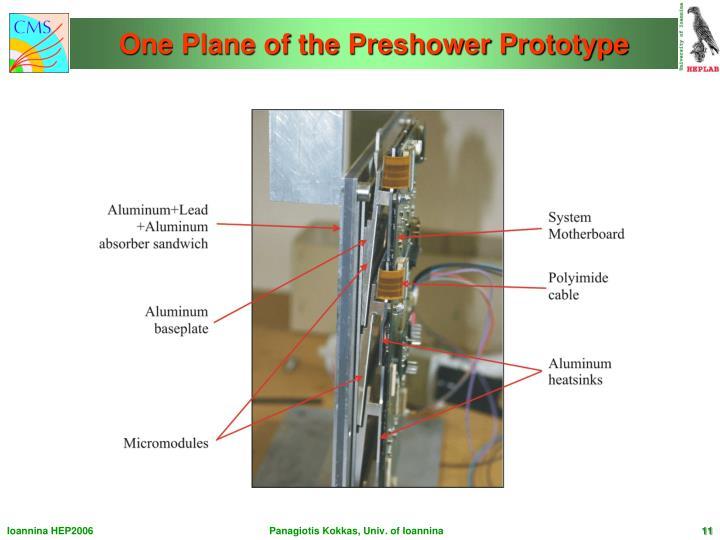 One Plane of the Preshower Prototype