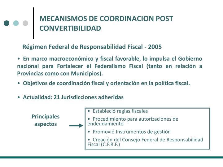 MECANISMOS DE COORDINACION POST CONVERTIBILIDAD