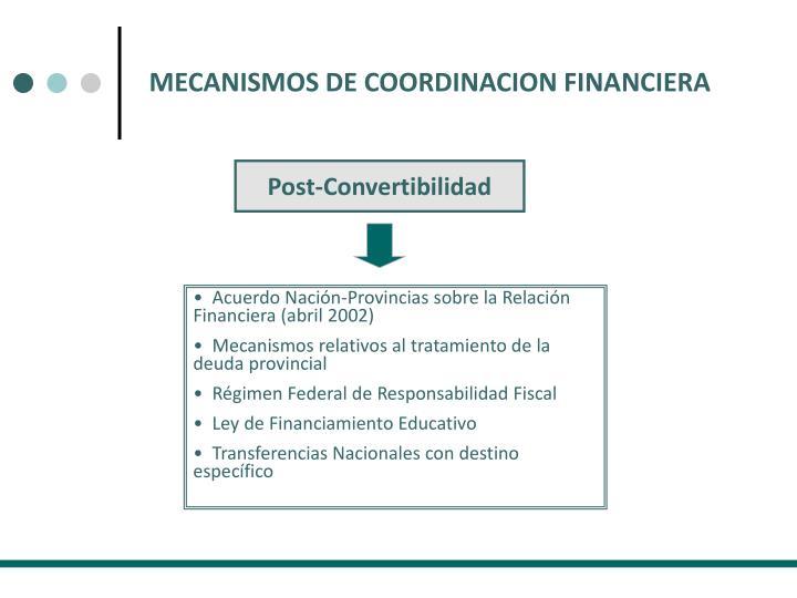 MECANISMOS DE COORDINACION FINANCIERA