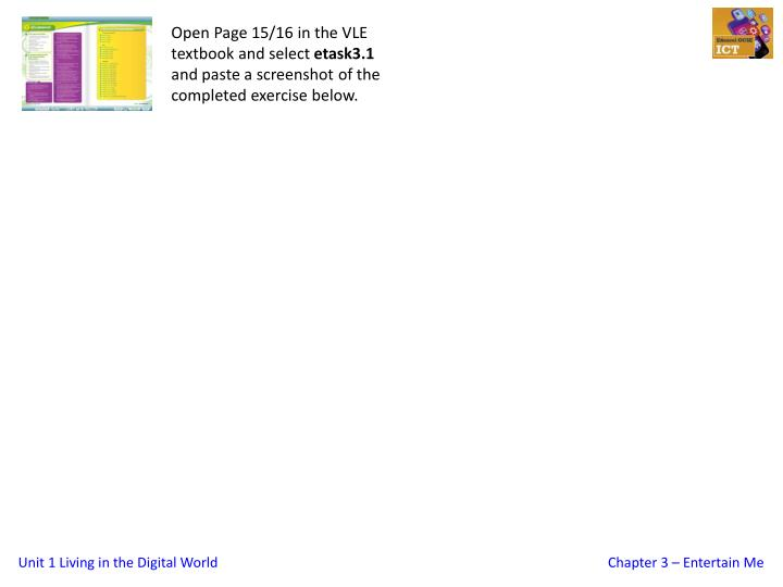 Open Page 15/16 in the VLE textbook and select