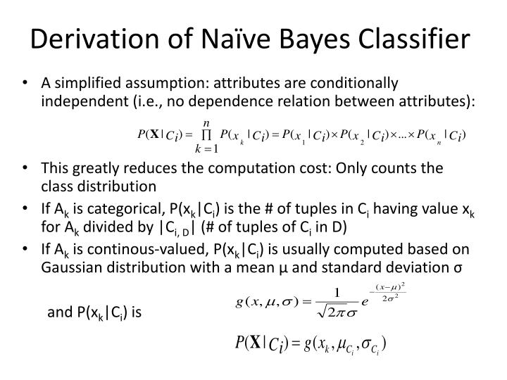 Derivation of Naïve Bayes Classifier