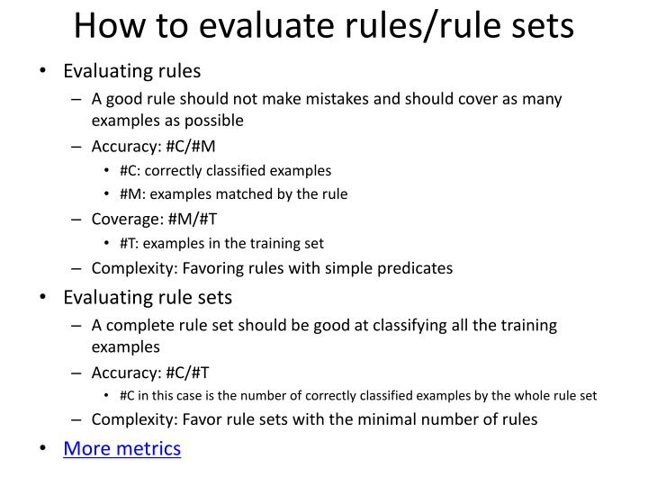 How to evaluate rules/rule sets