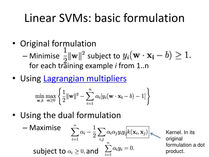 Linear SVMs: basic formulation