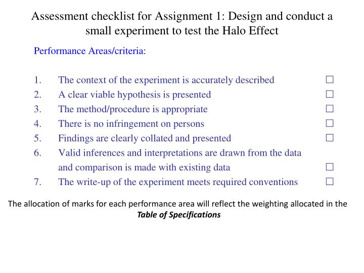 Assessment checklist for Assignment 1: Design and conduct a small experiment to test the Halo Effect