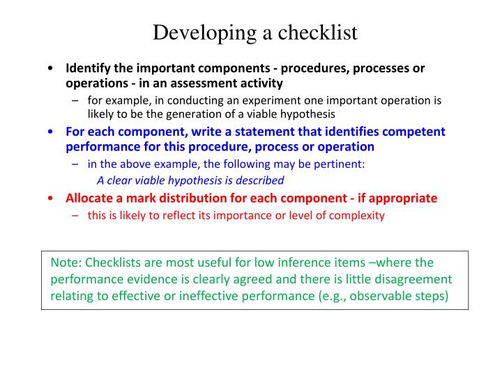 Developing a checklist