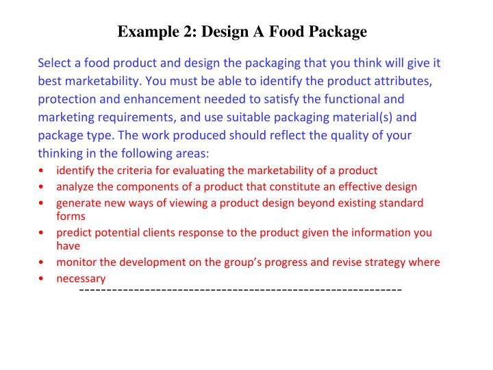 Example 2: Design A Food Package