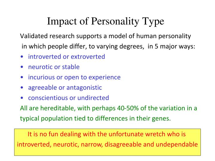 Impact of Personality Type