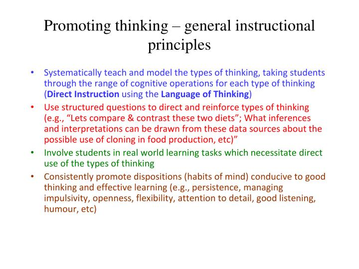 Promoting thinking – general instructional principles