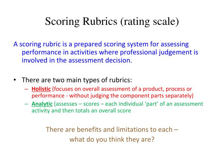 Scoring Rubrics (rating scale)