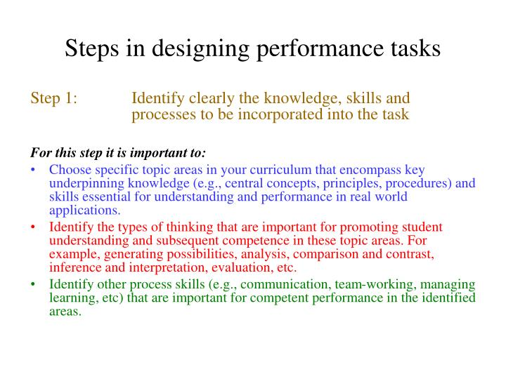Steps in designing performance tasks