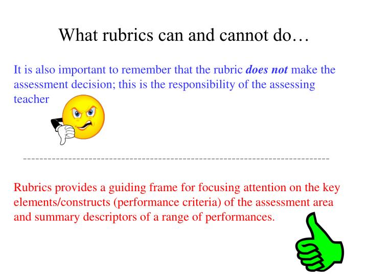 What rubrics can and cannot do…