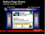 define page styles control color and font