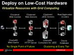 deploy on low cost hardware virtualize resources with grid computing