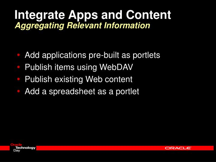 Integrate Apps and Content