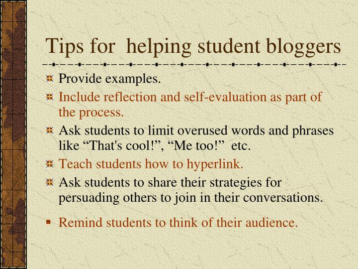 Tips for  helping student bloggers