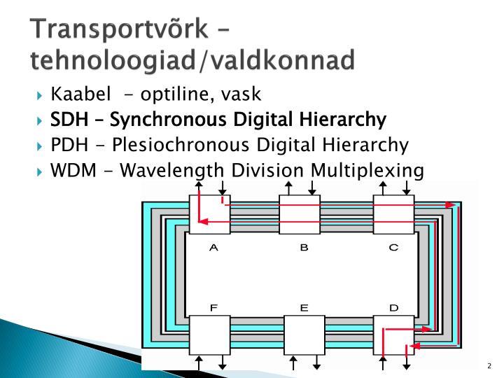 Transportvõrk – tehnoloogiad/valdkonnad